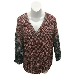 Lucky Brand Long Sleeve Floral V-Neck Blouse L